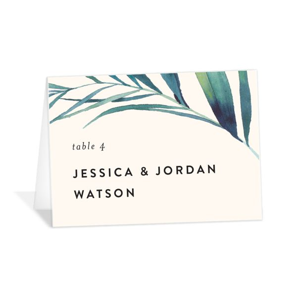 Palm and Protea Wedding Place Cards