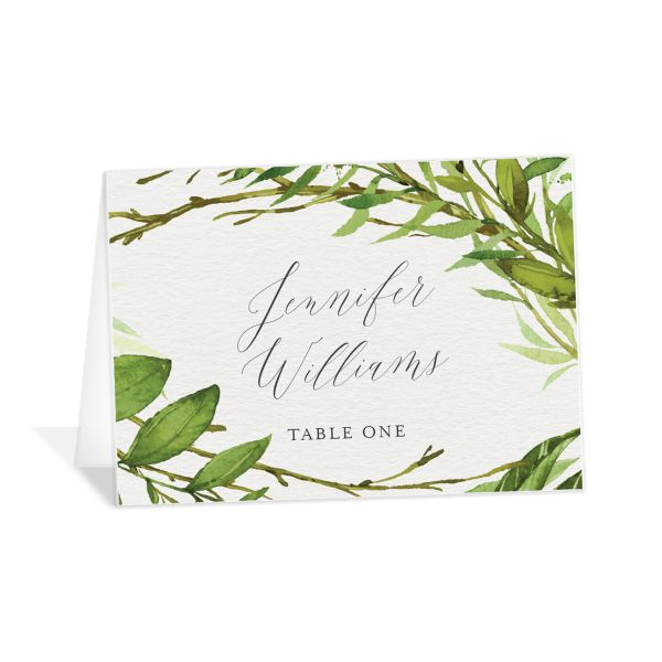 Watercolor Greenery place cards front