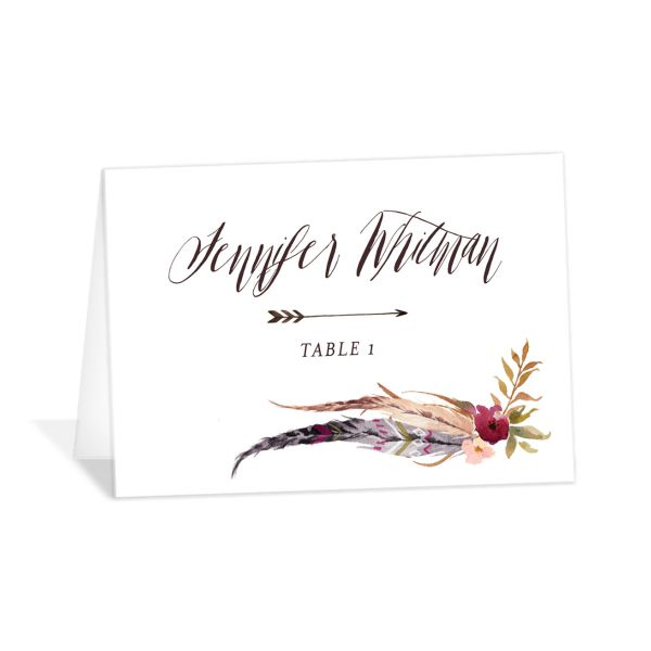 bohemian floral place cards in burgundy