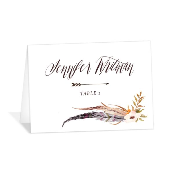 bohemian floral place cards in orange
