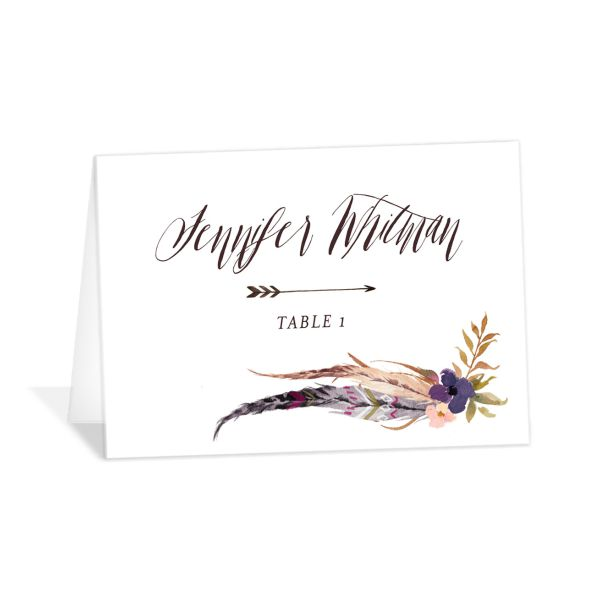 bohemian floral place cards in purple