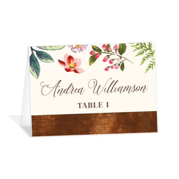 Bronze Floral Frame Place Cards back