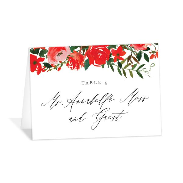 Cascading Altar wedding place cards in bright red