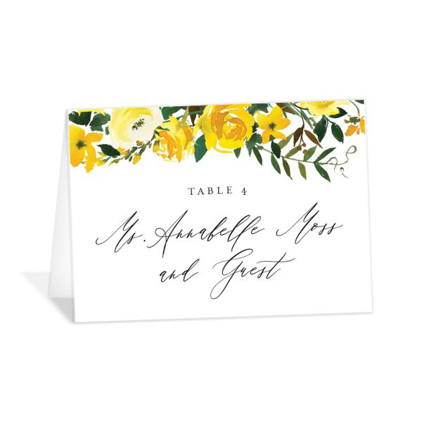 Cascading Altar wedding place cards in yellow