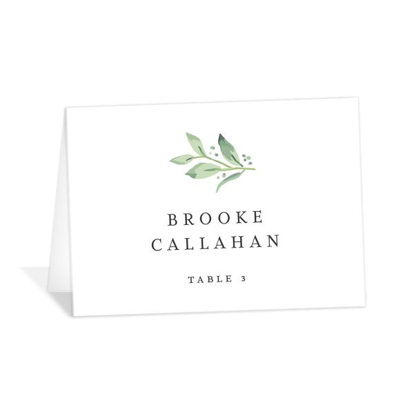 classic greenery place cards in pink