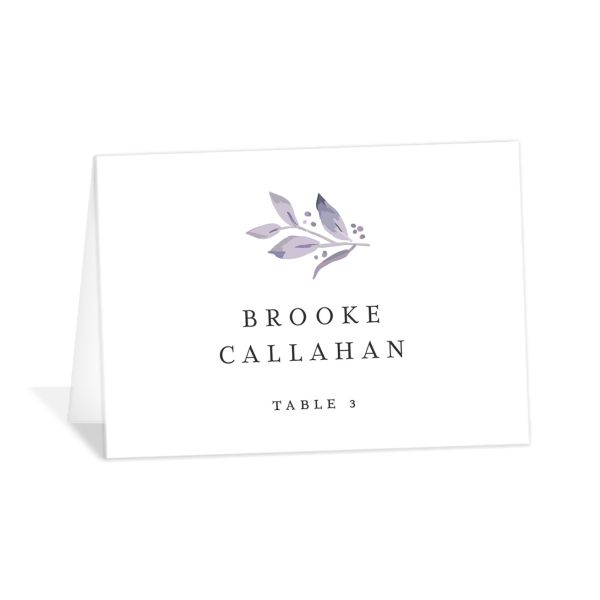 classic greenery place cards in purple