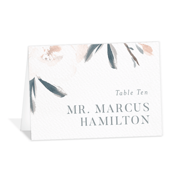 Elegant Garden wedding place cards in blue