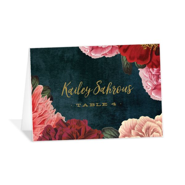 midnight peony place cards