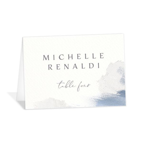 Minimal Brush place card blue