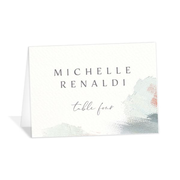 Minimal Brush place card green