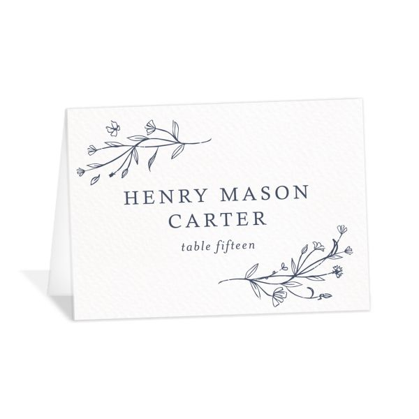 Natural Monogram wedding place cards & escort cards in blue