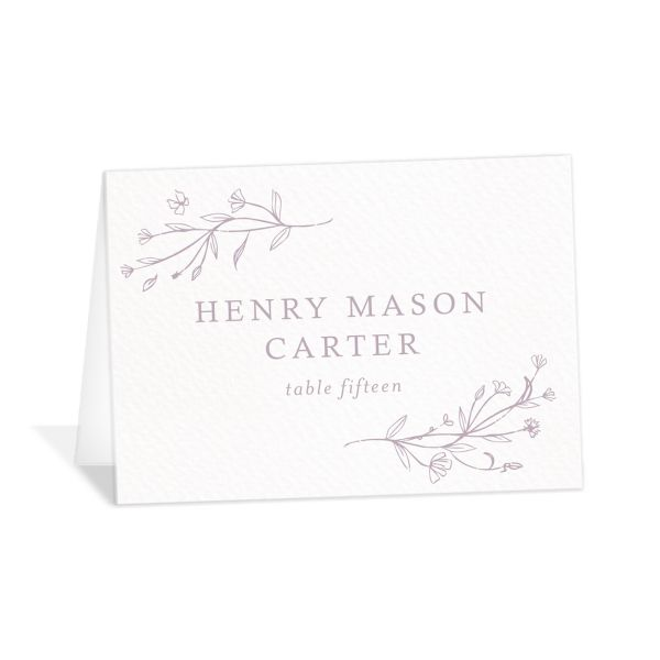 Natural Monogram wedding place cards & escort cards in purple