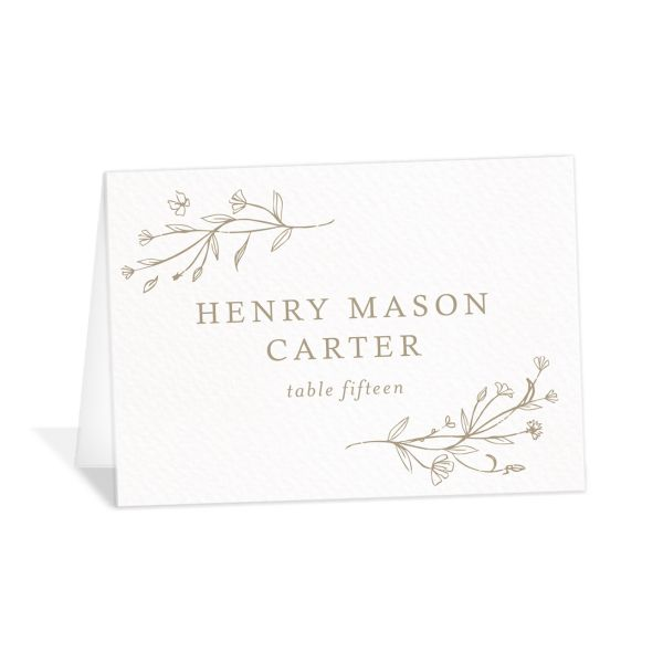 Natural Monogram wedding place cards & escort cards in tan