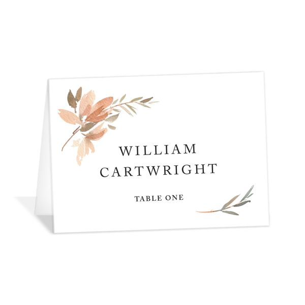 neutral greenery place cards in orange