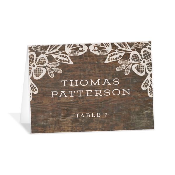 Woodgrain lace place card