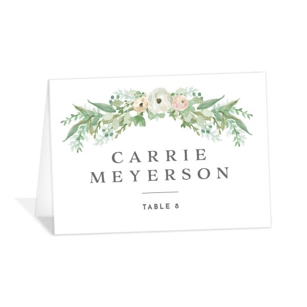 Romantic Garland place cards & escort cards closeup
