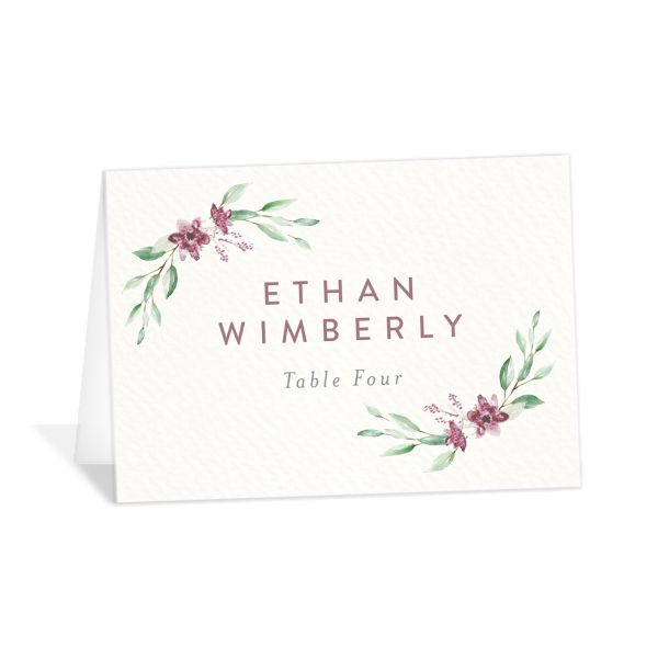 watercolor crest place cards in pink