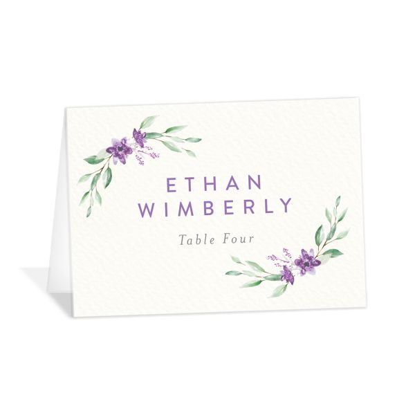 watercolor crest place cards in purple