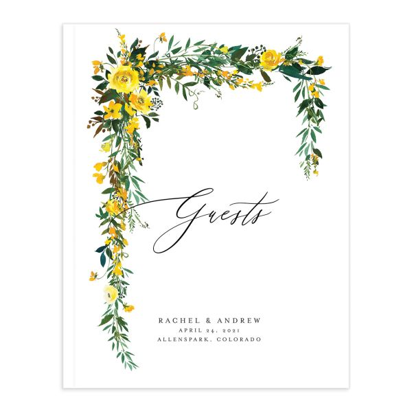 Cascading Altar wedding guest book in yellow