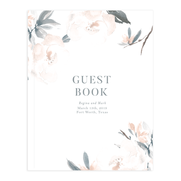 Elegant Garden guest book in blue