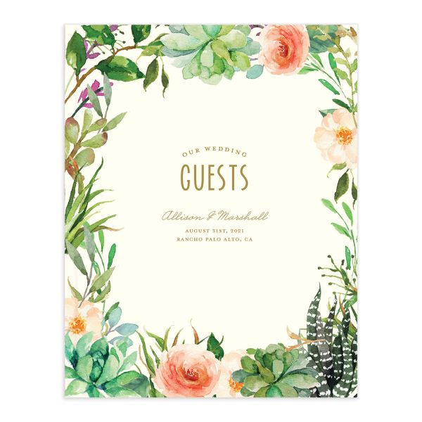 Elegant Oasis wedding guest book front cover