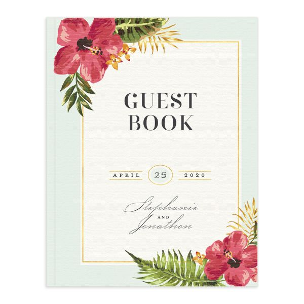 elegant paradise wedding guest books in teal