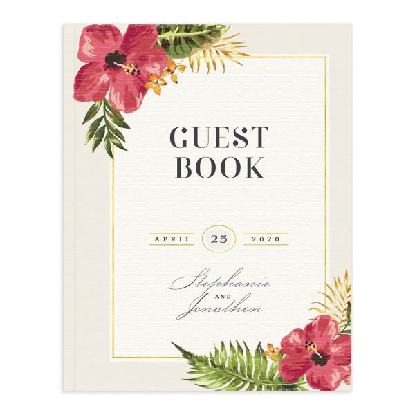 elegant paradise wedding guest book in cream