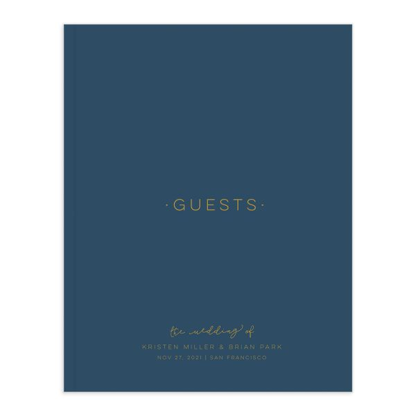 Gold Calligraphy guest book front cover in blue