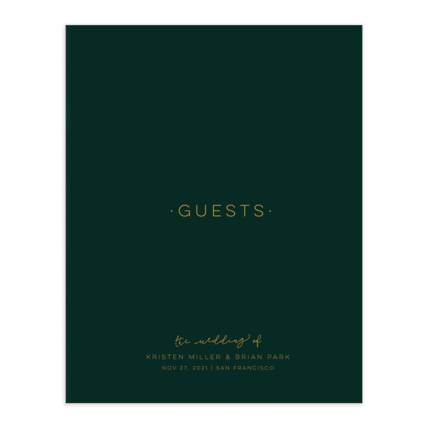 Gold Calligraphy guest book front cover in green
