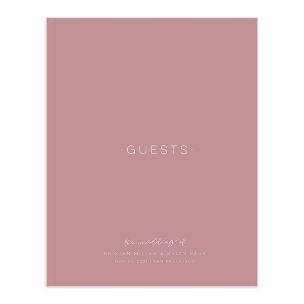 Gold Calligraphy guest book front cover in pink