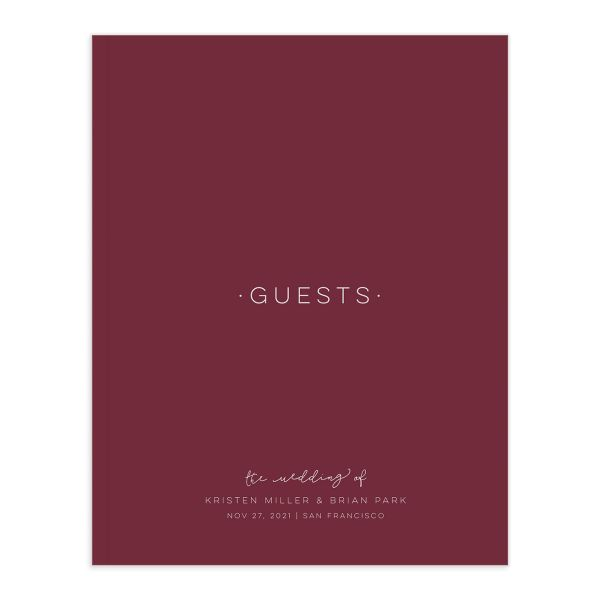 Gold Calligraphy guest book front cover in red