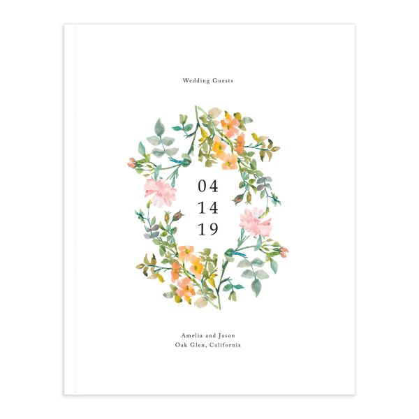 Minimal Floral wedding guest book front cover