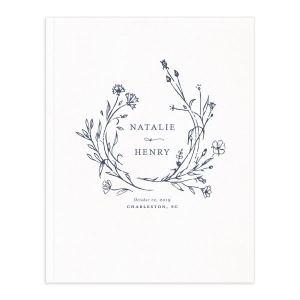 Natural Monogram wedding guest book blue