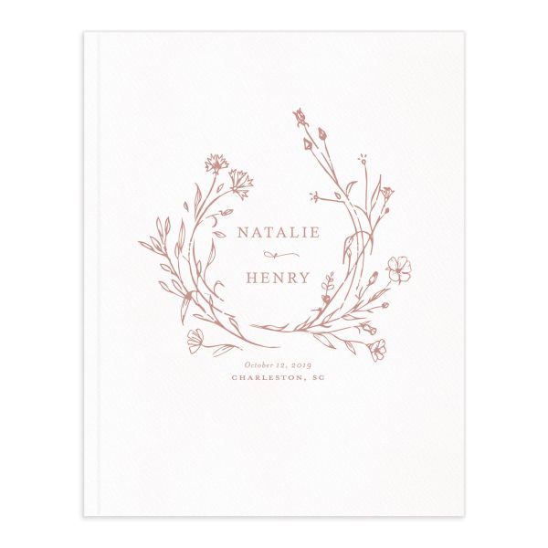 Natural Monogram wedding guest book pink