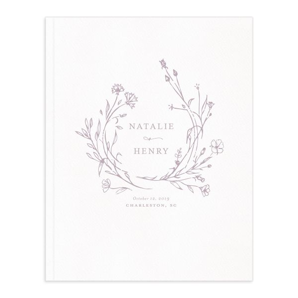 Natural Monogram wedding guest book purple