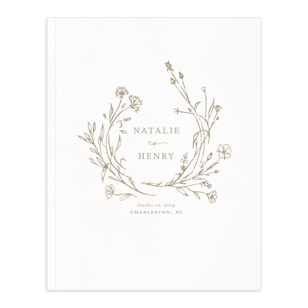 Natural Monogram wedding guest book tan
