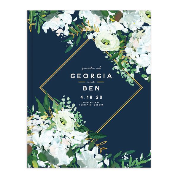 Painted Greenery guest book front navy
