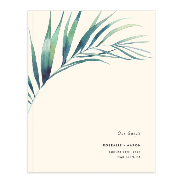 Palm and Protea Wedding Guest Book front