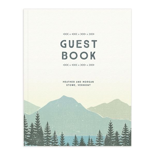 Vintage Mountain guest book front cover in teal