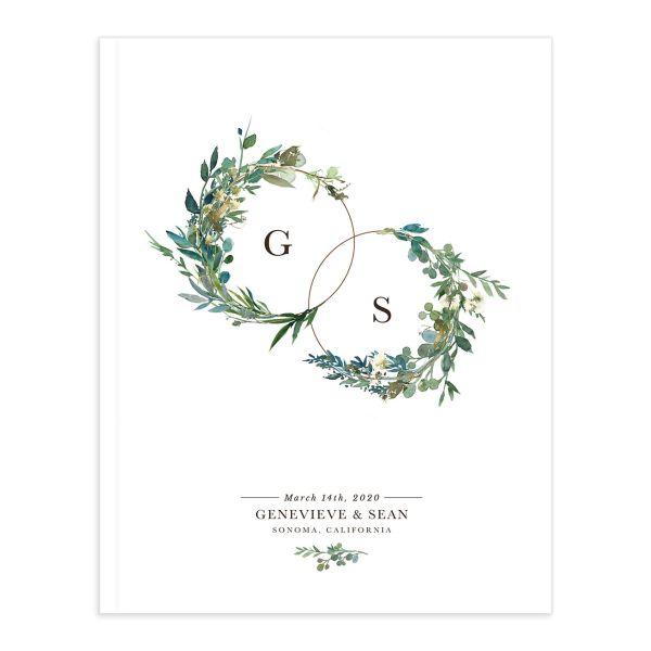 Leafy Hoops wedding guest book front cover