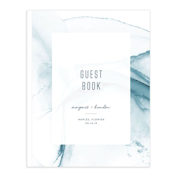 modern wave wedding guest book