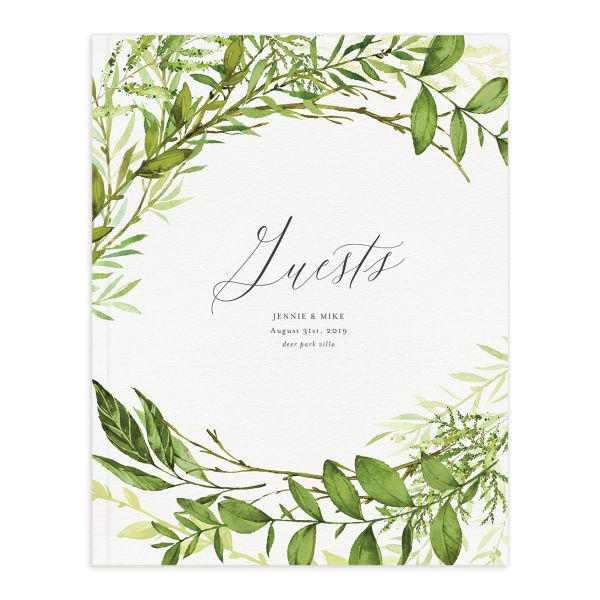 Watercolor Greenery wedding guest book