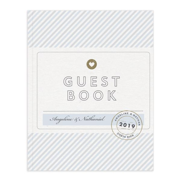 Vintage Boarding Pass guest book blue