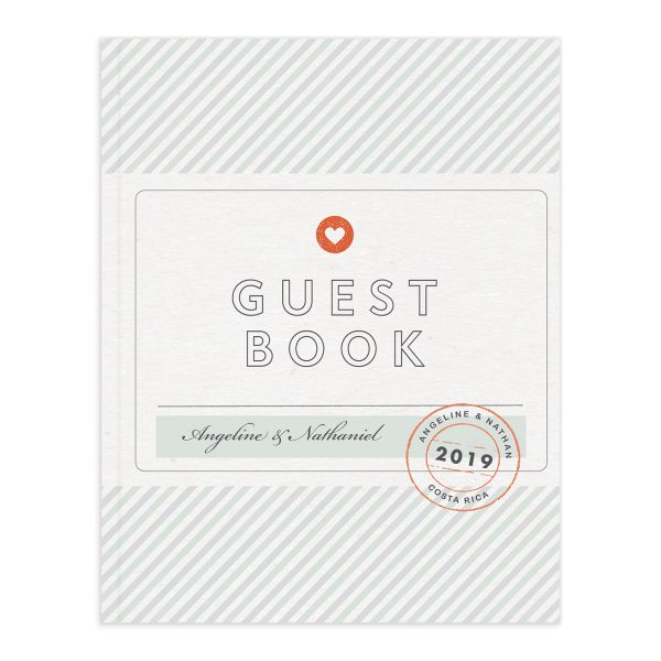 Vintage Boarding Pass guest book green