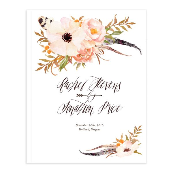 bohemian floral wedding guest book in peach