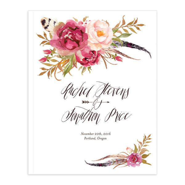 bohemian floral wedding guest book in pink