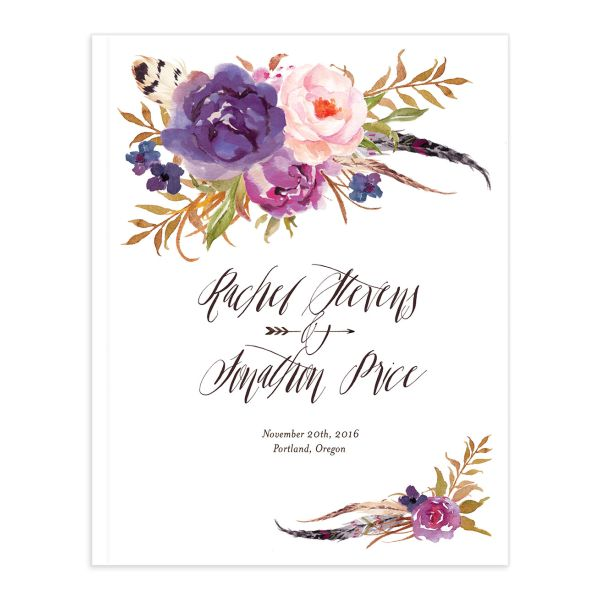 bohemian floral wedding guest book in purple