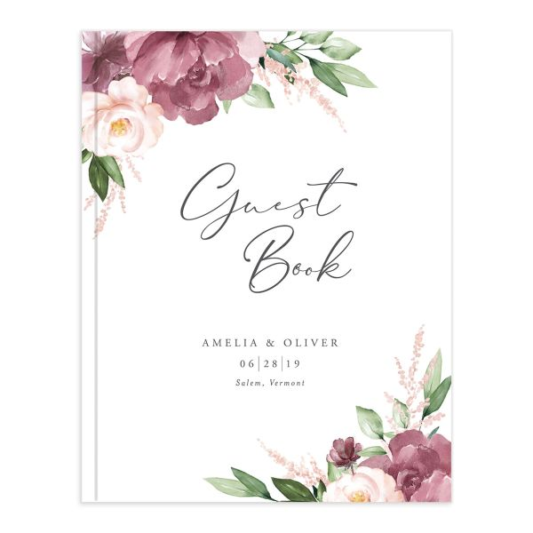 Beloved floral wedding guest book in purple