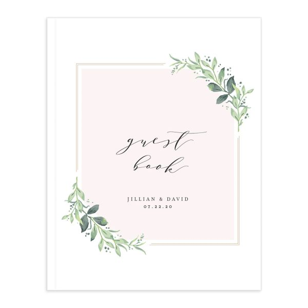 classic greenery wedding guest book in pink