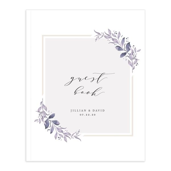 classic greenery wedding guest book in purple